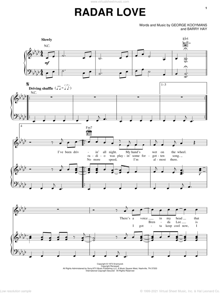 Radar Love sheet music for voice, piano or guitar by Golden Earring, White Lion, Barry Hay and George Kooymans, intermediate skill level