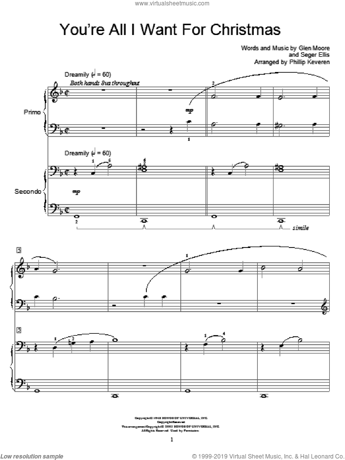 You're All I Want For Christmas sheet music for piano four hands by Brook Benton, Miscellaneous, Glen Moore and Seger Ellis, intermediate skill level