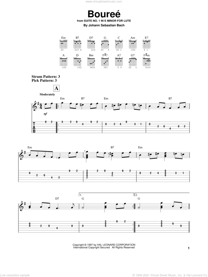 Bourree sheet music for guitar solo (easy tablature) by Johann Sebastian Bach, classical score, easy guitar (easy tablature)