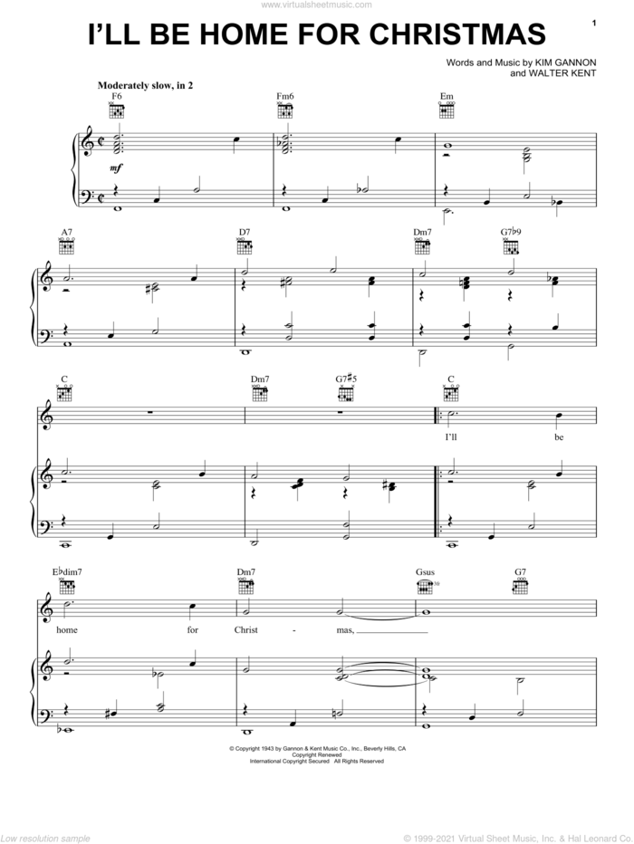 I'll Be Home For Christmas sheet music for voice, piano or guitar by Frank Sinatra, Bing Crosby, Elvis Presley, Kim Gannon, Kim Gannon & Walter Kent and Walter Kent, intermediate skill level