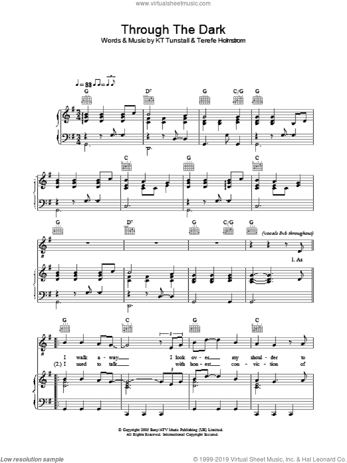 Through The Dark sheet music for voice, piano or guitar by KT Tunstall and Terefe Holmstrom, intermediate skill level