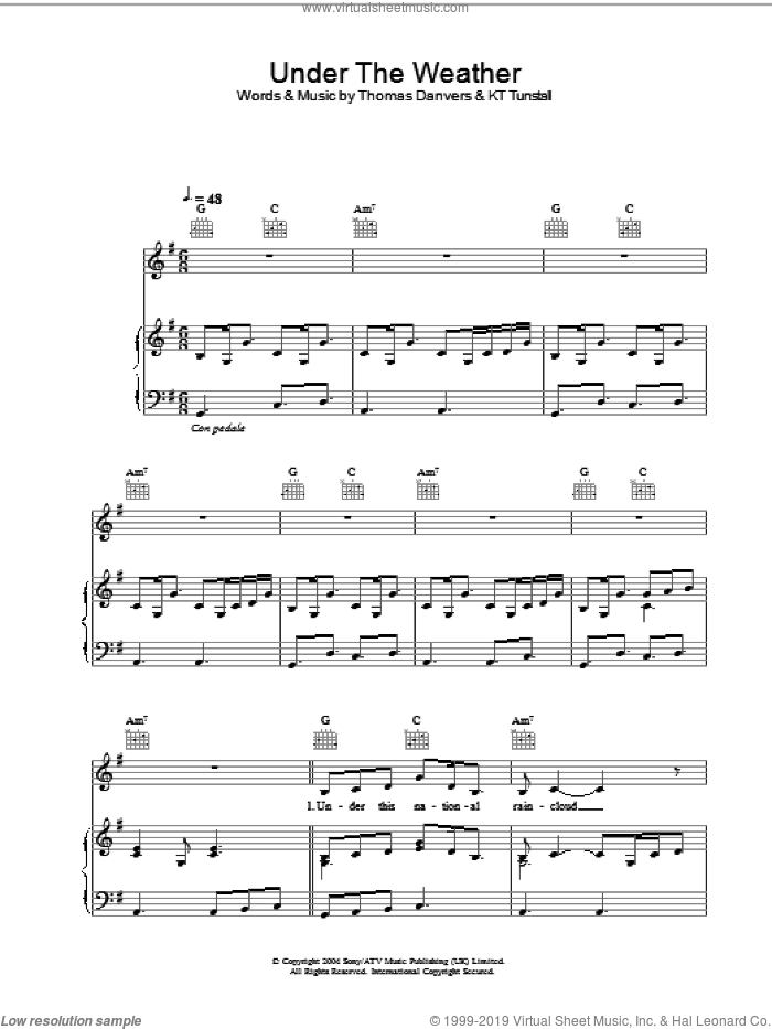 Under The Weather sheet music for voice, piano or guitar by KT Tunstall and Thomas Danvers, intermediate skill level