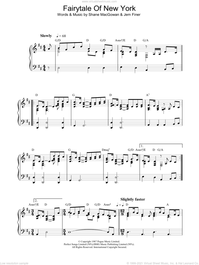 Fairytale Of New York, (intermediate) sheet music for piano solo by The Pogues, Kirsty MacColl, The Pogues & Kirsty MacColl, Jem Finer and Shane MacGowan, intermediate skill level