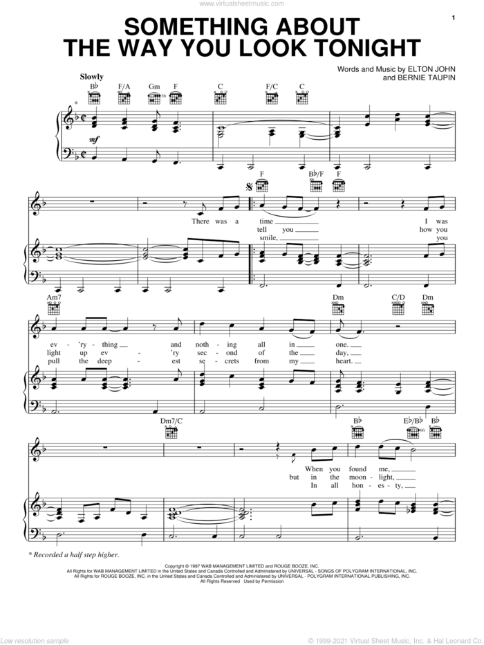 Something About The Way You Look Tonight sheet music for voice, piano or guitar by Elton John and Bernie Taupin, wedding score, intermediate skill level