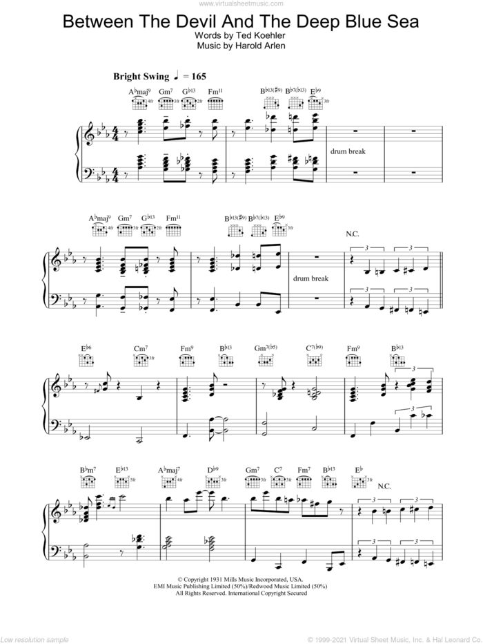 Between The Devil And The Deep Blue Sea sheet music for piano solo by Diana Krall, Harold Arlen and Ted Koehler, intermediate skill level