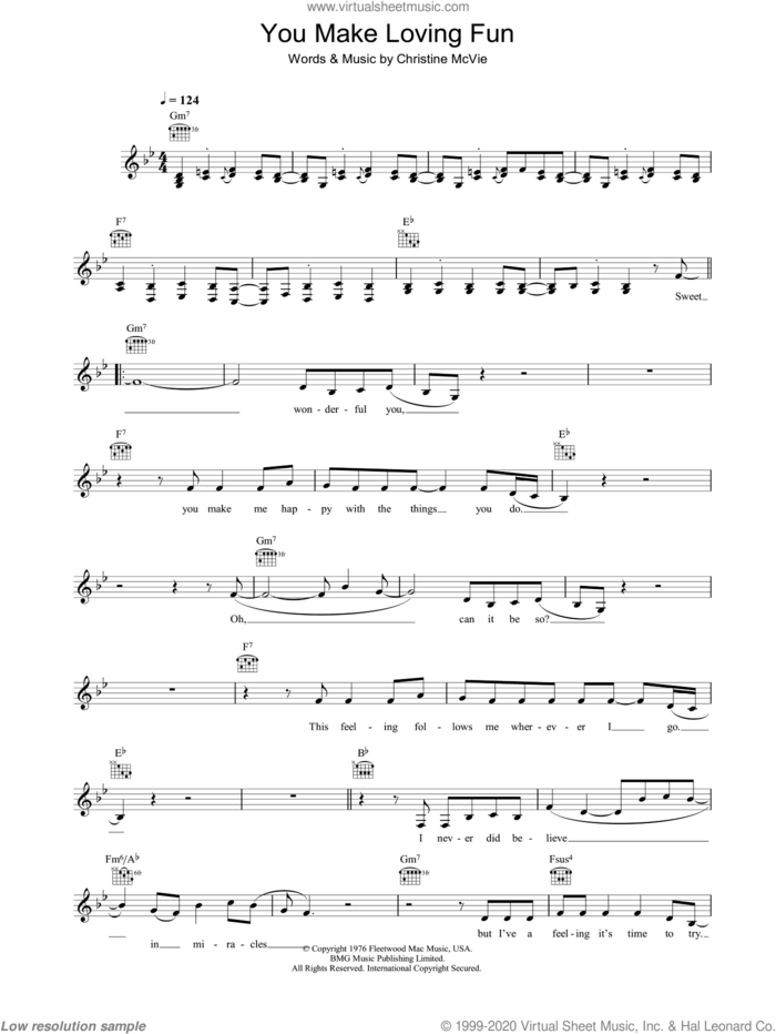 You Make Loving Fun sheet music for voice and other instruments (fake book) by Fleetwood Mac and Christine McVie, intermediate skill level
