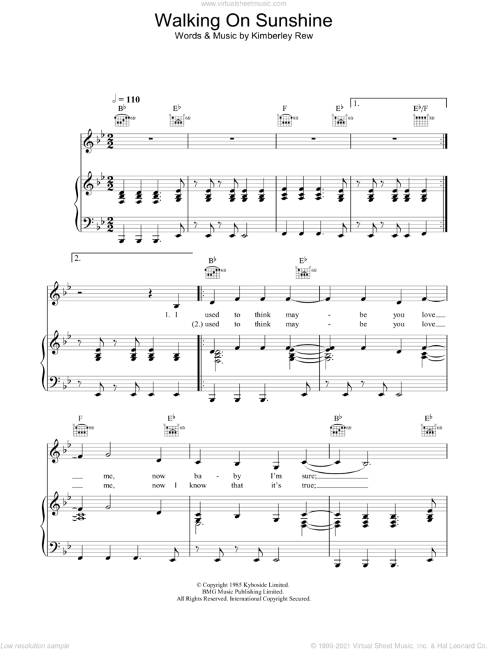 Walking On Sunshine sheet music for voice, piano or guitar by Katrina & The Waves and Kimberley Rew, intermediate skill level