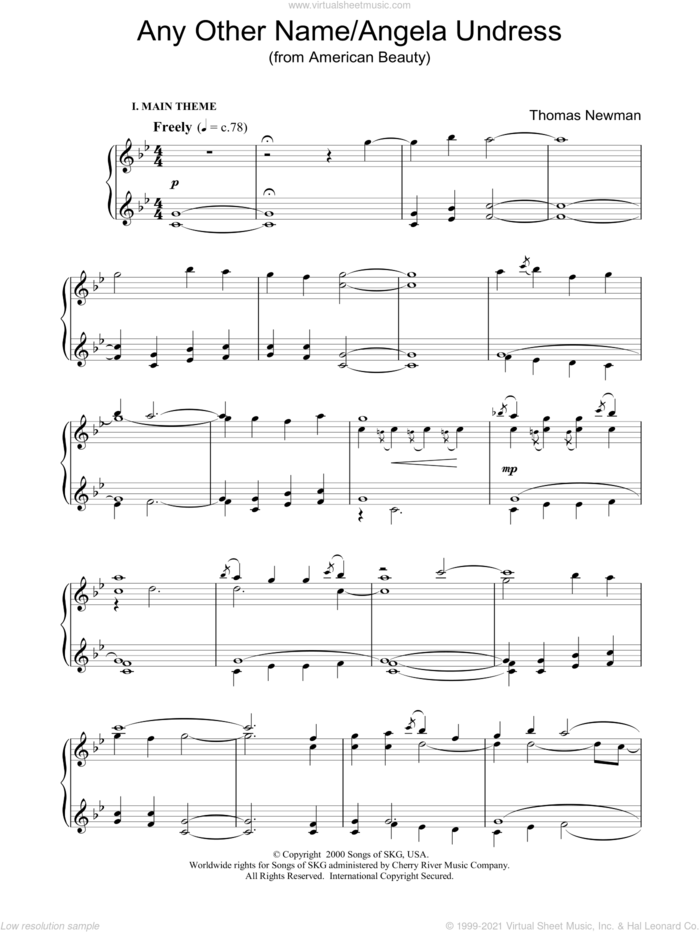 Any Other Name/Angela Undress (from American Beauty) sheet music for piano solo by Thomas Newman, intermediate skill level