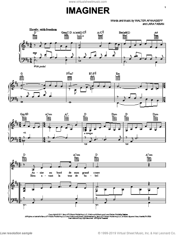 Imaginer sheet music for voice, piano or guitar by Jackie Evancho, Lara Fabian and Walter Afanasieff, intermediate skill level