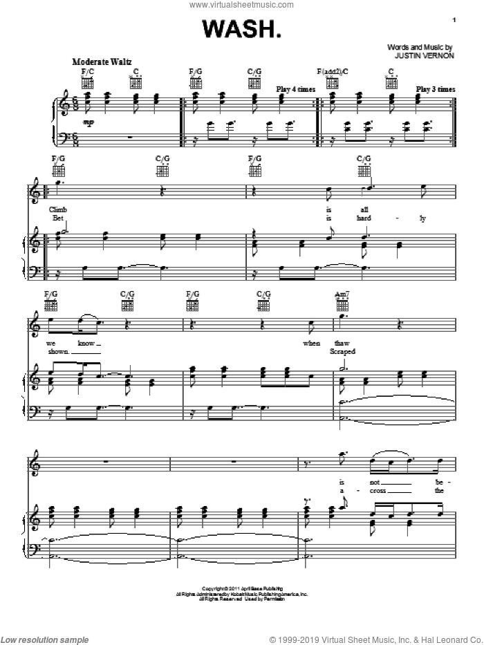 Wash. sheet music for voice, piano or guitar by Bon Iver and Justin Vernon, intermediate skill level