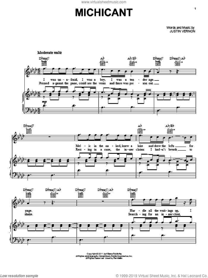 Michicant sheet music for voice, piano or guitar by Bon Iver and Justin Vernon, intermediate skill level
