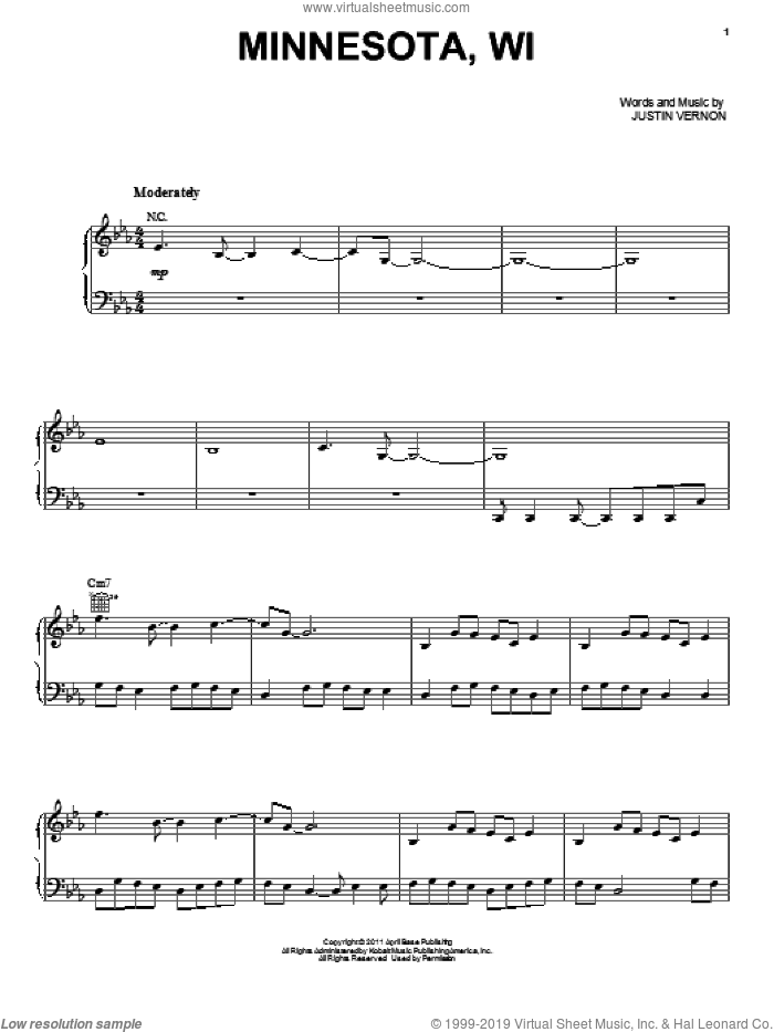 Minnesota, WI sheet music for voice, piano or guitar by Bon Iver and Justin Vernon, intermediate skill level