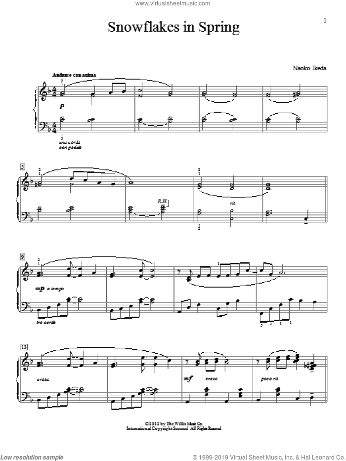 Snowflakes In Spring sheet music for piano solo (elementary) by Naoko Ikeda, beginner piano (elementary)