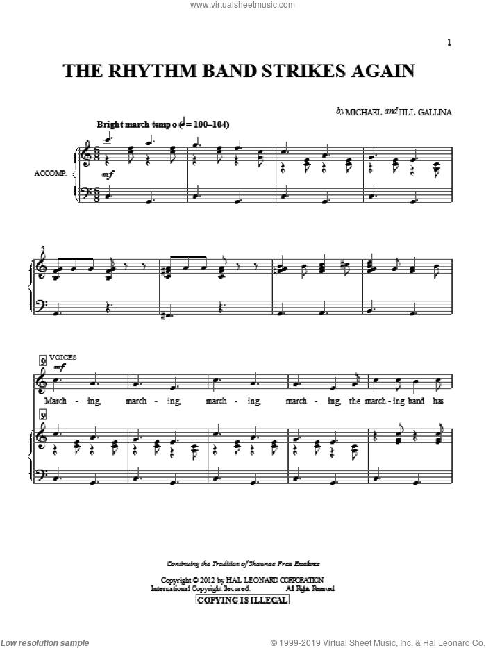 The Rhythm Band Strikes Again sheet music for choir by Jill Gallina and Michael Gallina, intermediate skill level