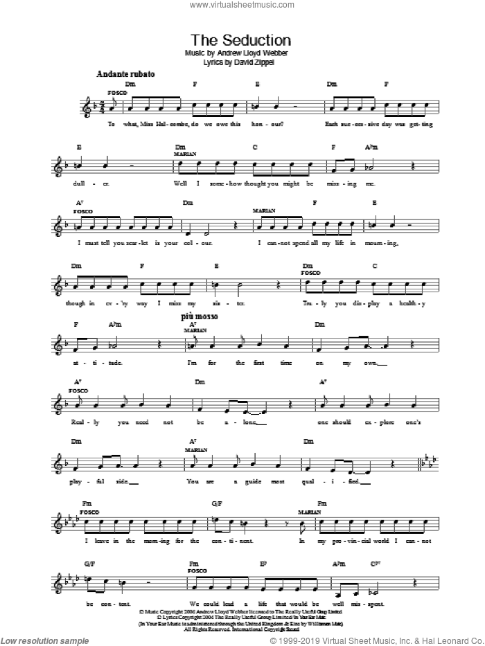 The Seduction (from The Woman In White) sheet music for voice and other instruments (fake book) by Andrew Lloyd Webber and David Zippel, intermediate skill level
