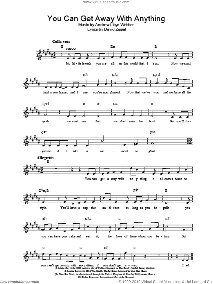 You Can Get Away With Anything (from The Woman In White) sheet music for voice and other instruments (fake book) by Andrew Lloyd Webber and David Zippel, intermediate skill level