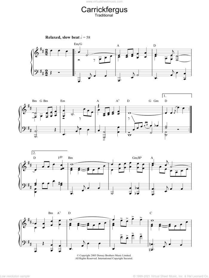Carrickfergus, (intermediate) sheet music for piano solo, intermediate skill level