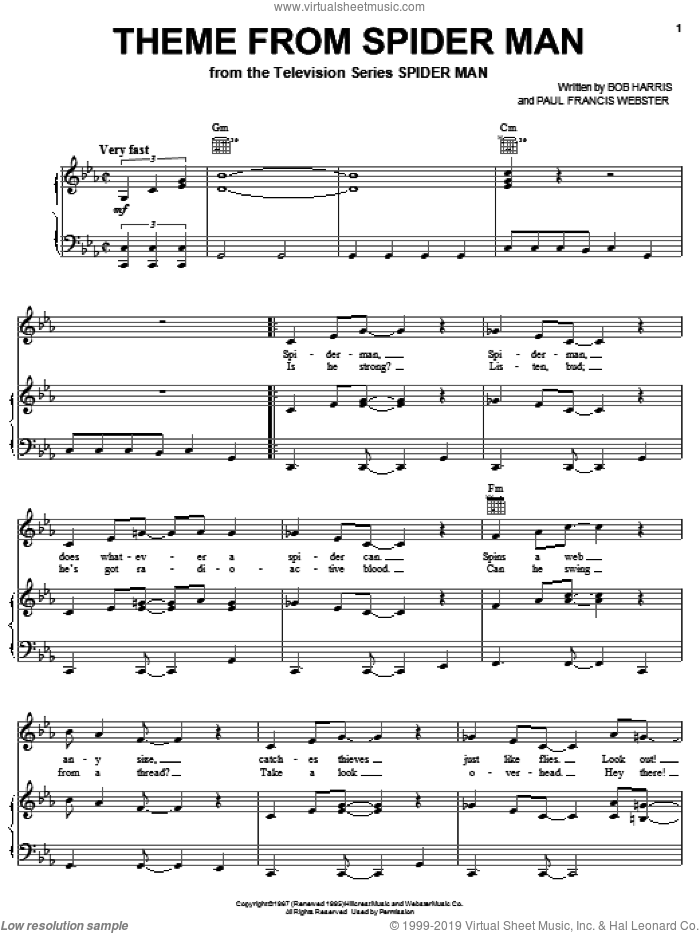 Theme From Spider-Man sheet music for voice, piano or guitar by Paul Francis Webster and Bob Harris, intermediate skill level