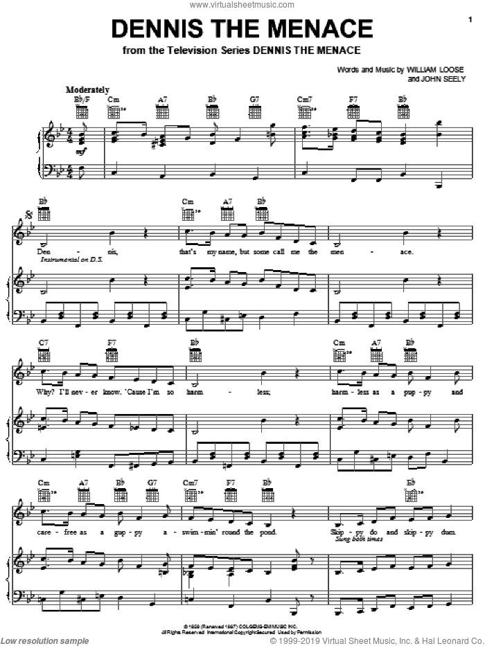 Dennis The Menace sheet music for voice, piano or guitar by William Loose and John Seely, intermediate skill level