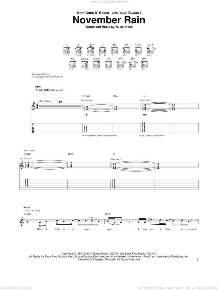 November Rain sheet music for guitar (tablature) by Guns N' Roses and Axl Rose, intermediate skill level