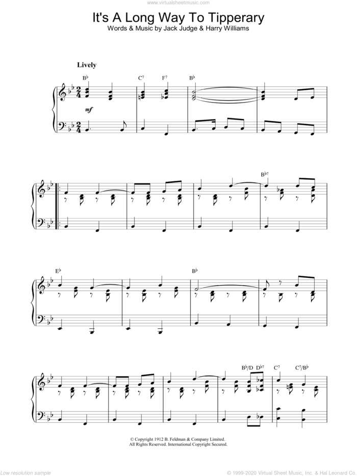 It's A Long Way To Tipperary sheet music for piano solo by Jack Judge, Harry Williams and J & Williams, H Judge, intermediate skill level