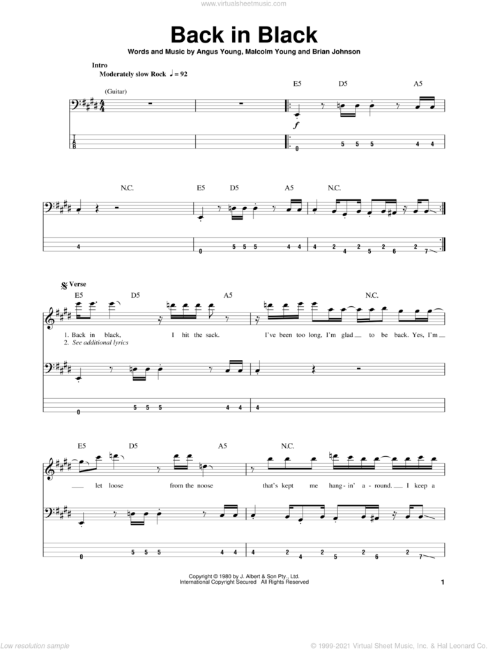 Back In Black sheet music for bass (tablature) (bass guitar) by AC/DC, Angus Young, Brian Johnson and Malcolm Young, intermediate skill level