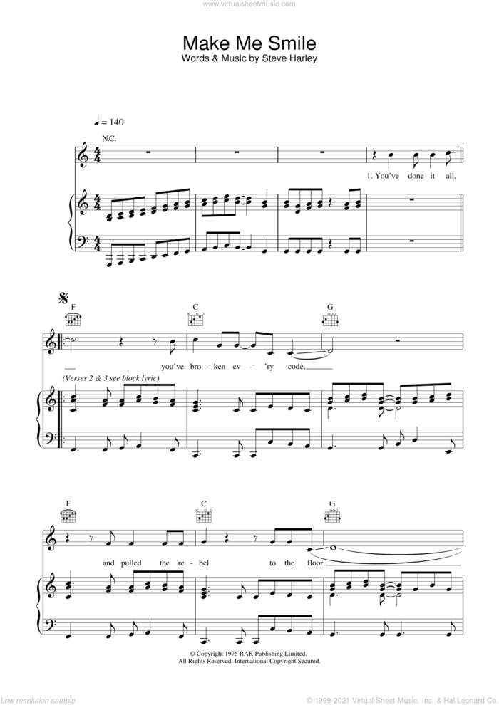 Make Me Smile (Come Up And See Me) sheet music for voice, piano or guitar by Steve Harley & Cockney Rebel, Cockney Rebel and Steve Harley, intermediate skill level