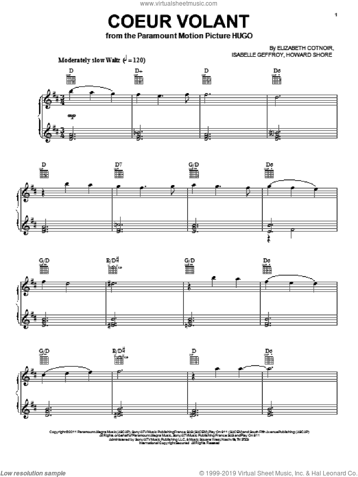 Coeur Volant sheet music for voice, piano or guitar by Howard Shore, Hugo (movie), Elizabeth Cotnoir and Isabelle Geffroy, intermediate skill level