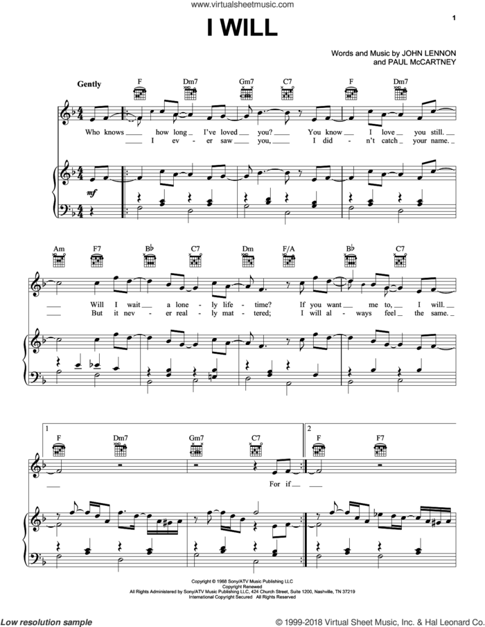 I Will sheet music for voice, piano or guitar by The Beatles, John Lennon and Paul McCartney, wedding score, intermediate skill level