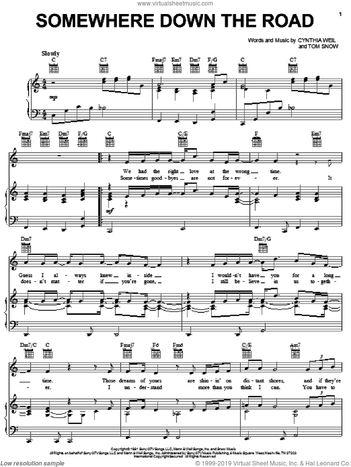 Somewhere Down The Road sheet music for voice, piano or guitar by Barry Manilow, Cynthia Weil and Tom Snow, intermediate skill level
