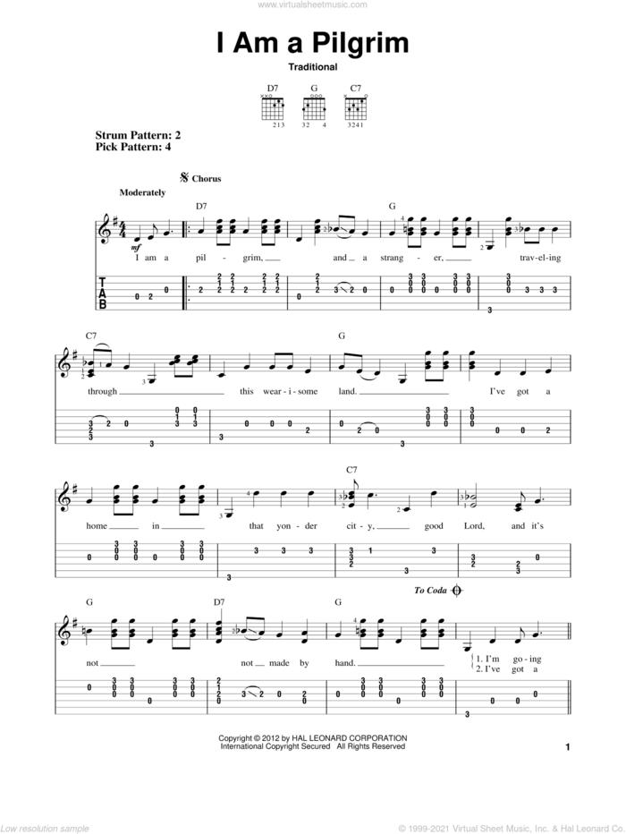 I Am A Pilgrim sheet music for guitar solo (easy tablature), easy guitar (easy tablature)