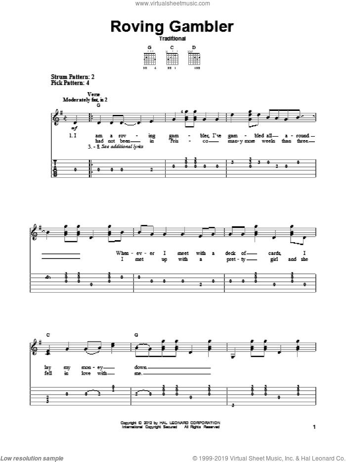 Roving Gambler sheet music for guitar solo (easy tablature), easy guitar (easy tablature)