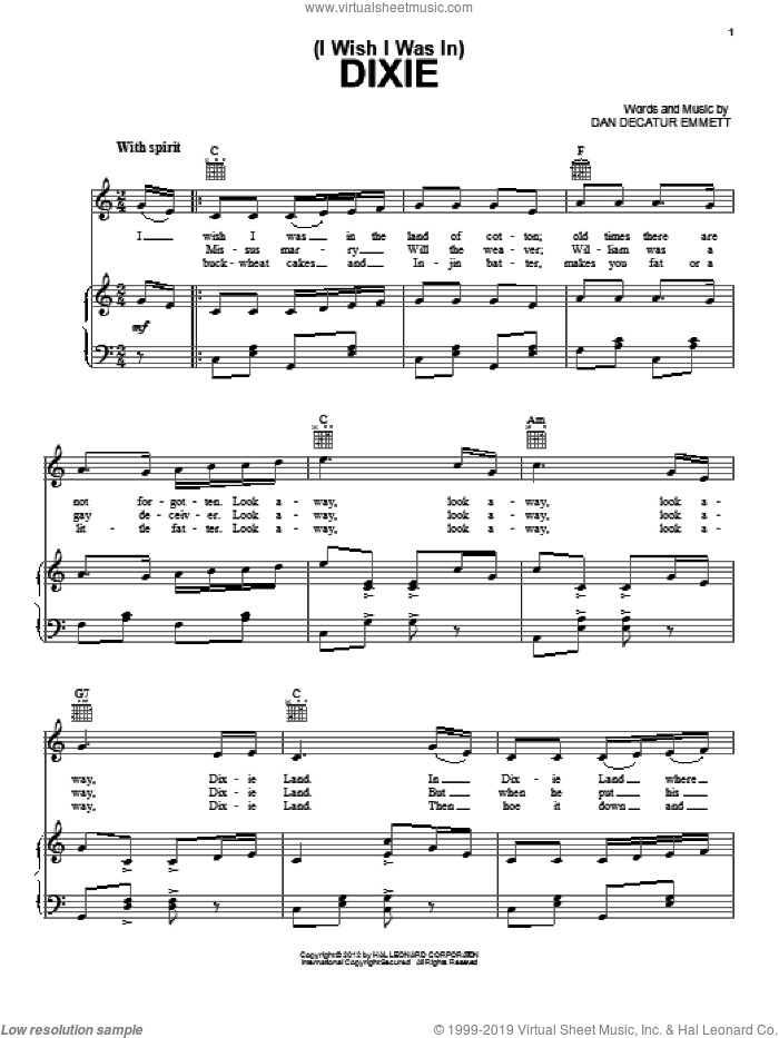 (I Wish I Was In) Dixie sheet music for voice, piano or guitar by Daniel Decatur Emmett, intermediate skill level