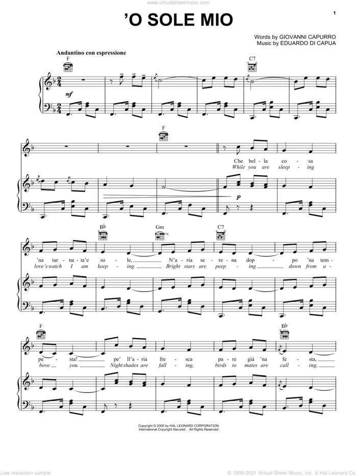 'O Sole Mio sheet music for voice, piano or guitar by Giovanni Capurro and Eduardo di Capua, classical score, intermediate skill level