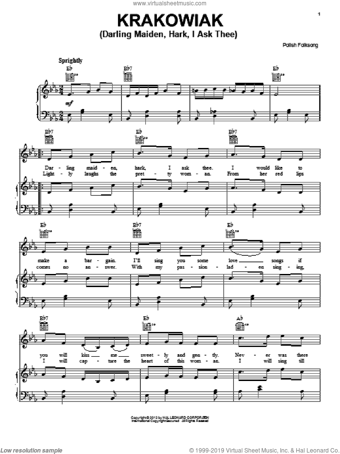 Krakowiak (Darling Maiden, Hark, I Ask Thee) sheet music for voice, piano or guitar, intermediate skill level