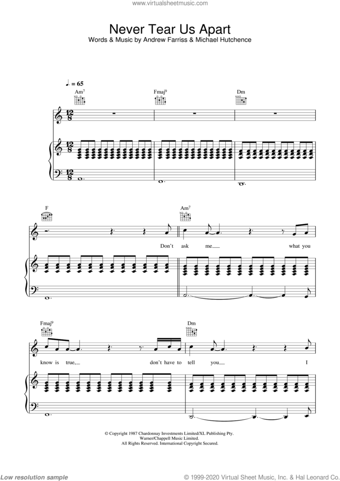 Never Tear Us Apart sheet music for voice, piano or guitar by INXS, Andrew Farriss and Michael Hutchence, intermediate skill level