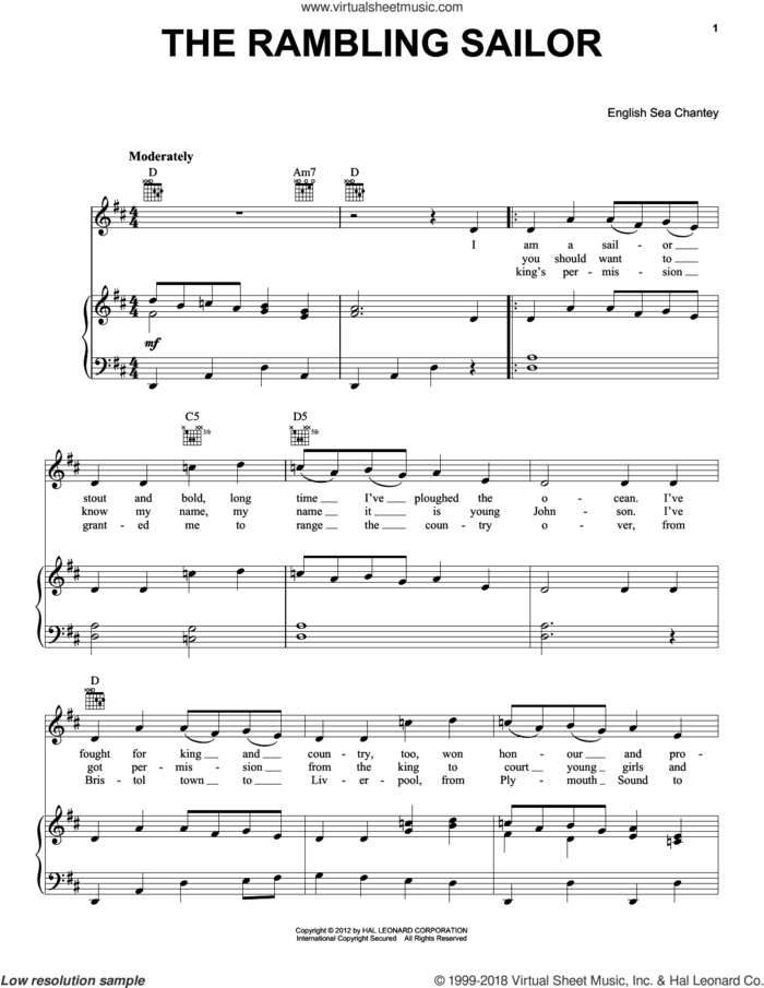 The Rambling Sailor sheet music for voice, piano or guitar, intermediate skill level