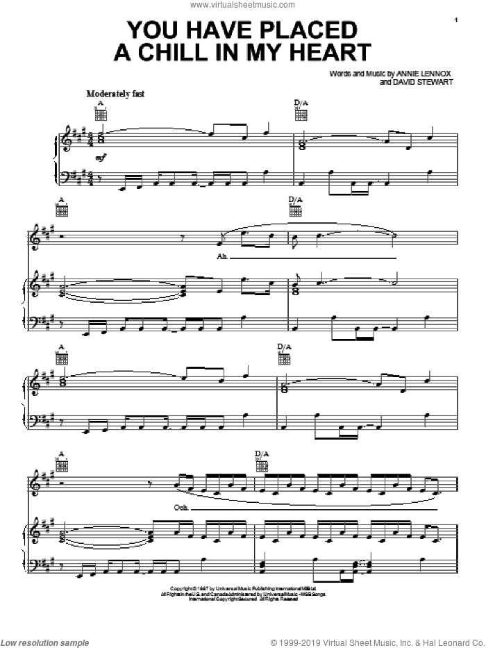 You Have Placed A Chill In My Heart sheet music for voice, piano or guitar by Eurythmics, Annie Lennox and Dave Stewart, intermediate skill level