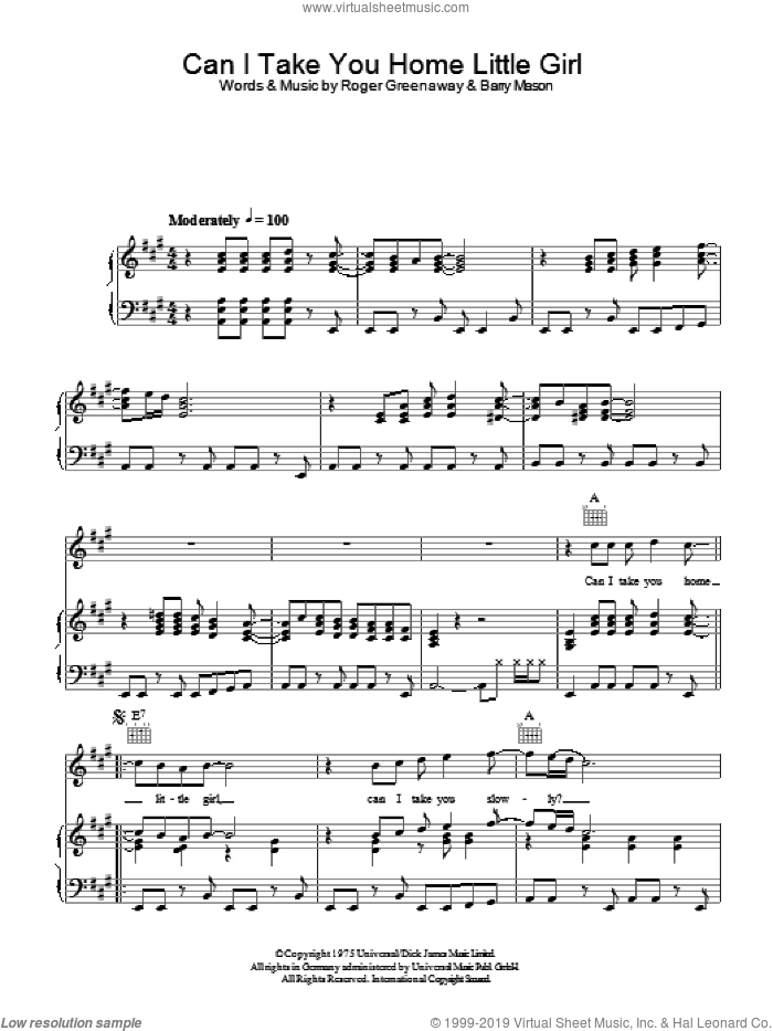 Can I Take You Home Little Girl sheet music for voice, piano or guitar by The Drifters, Barry Mason and Roger Greenaway, intermediate skill level