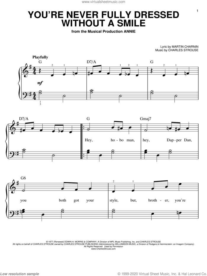 You're Never Fully Dressed Without A Smile sheet music for piano solo by Charles Strouse, Annie (Musical) and Martin Charnin, easy skill level