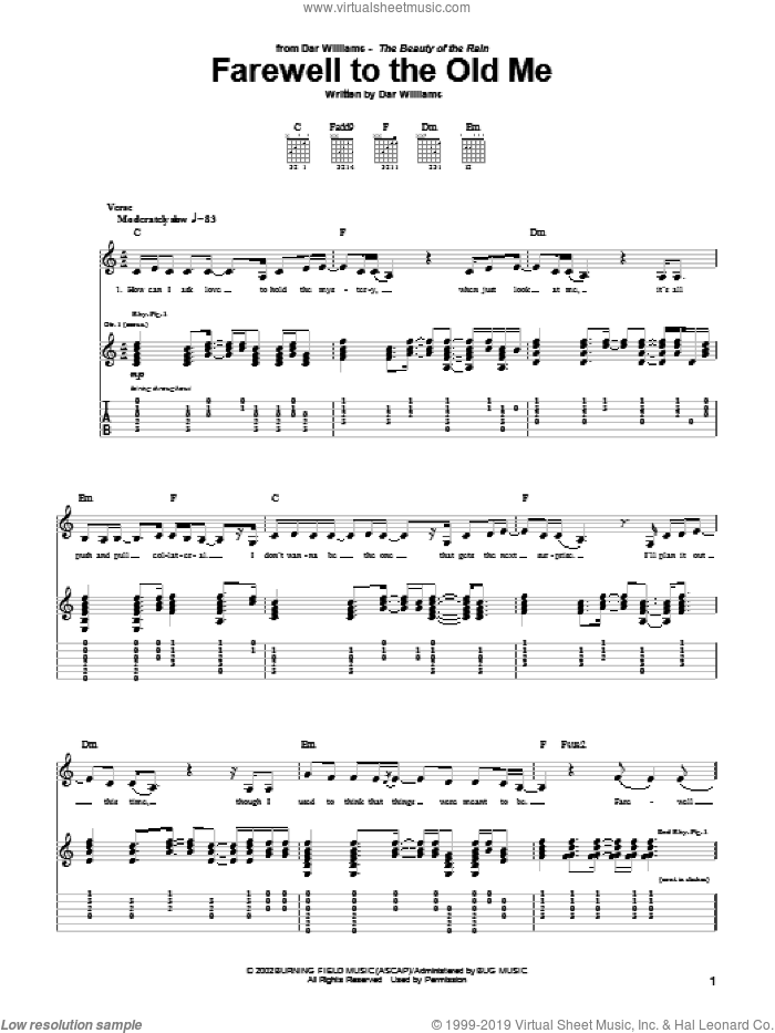 Farewell To The Old Me sheet music for guitar (tablature) by Dar Williams, intermediate skill level