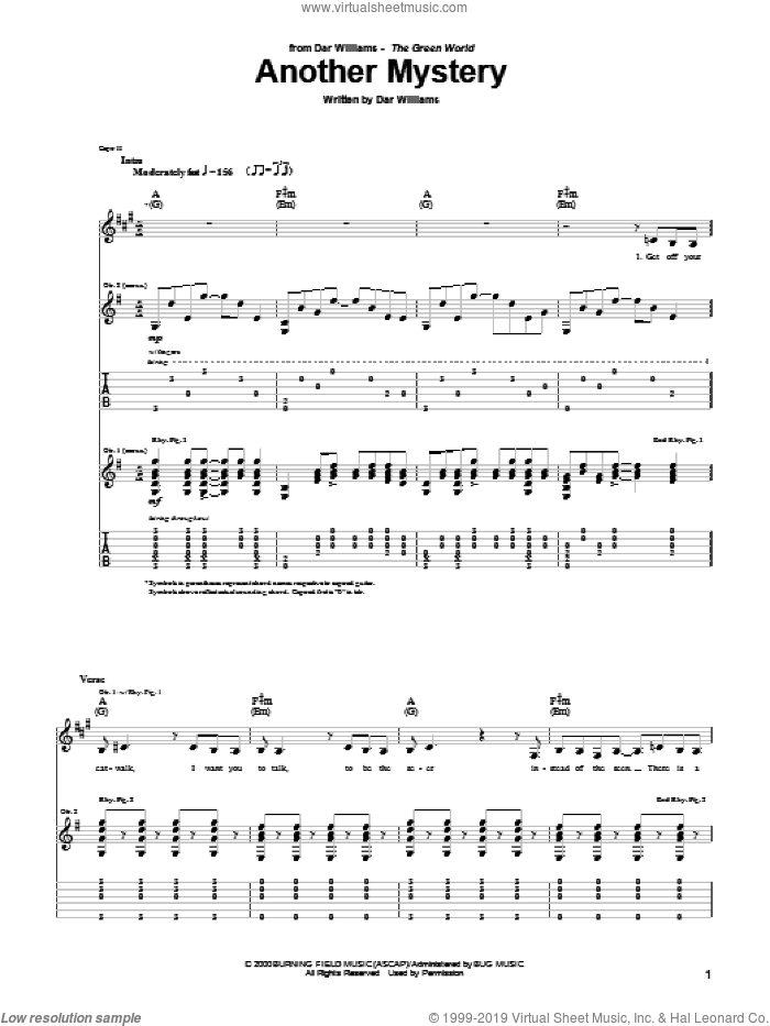 Another Mystery sheet music for guitar (tablature) by Dar Williams, intermediate skill level