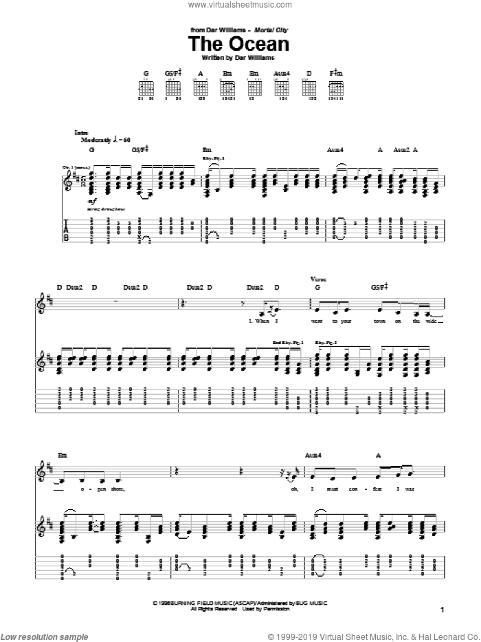The Ocean sheet music for guitar (tablature) by Dar Williams, intermediate skill level