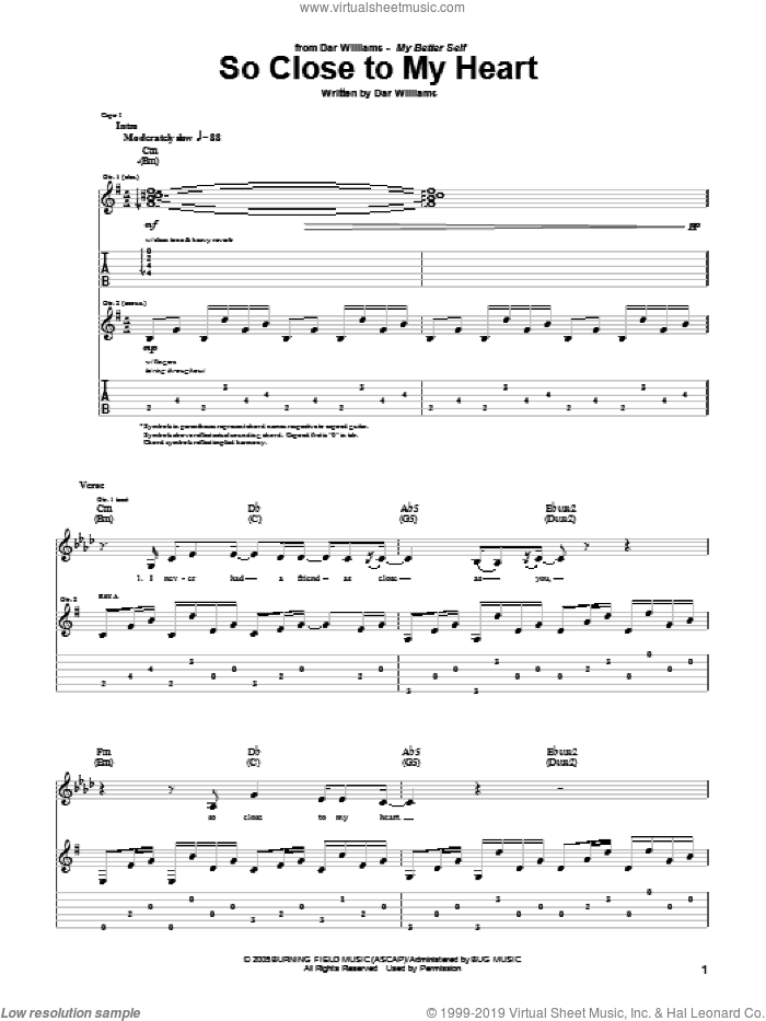 So Close To My Heart sheet music for guitar (tablature) by Dar Williams, intermediate skill level