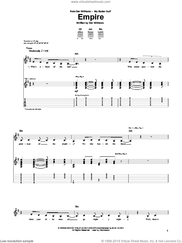 The Empire sheet music for guitar (tablature) by Dar Williams, intermediate skill level