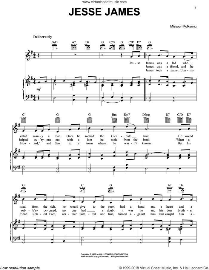 Jesse James sheet music for voice, piano or guitar by Missouri Folksong and Miscellaneous, intermediate skill level