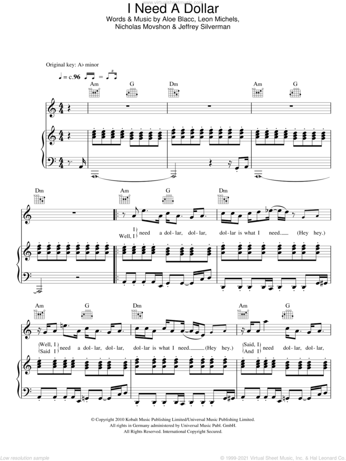 I Need A Dollar sheet music for voice, piano or guitar by Aloe Blacc, Jeffrey Silverman, Leon Michels and Nick Movshon, intermediate skill level