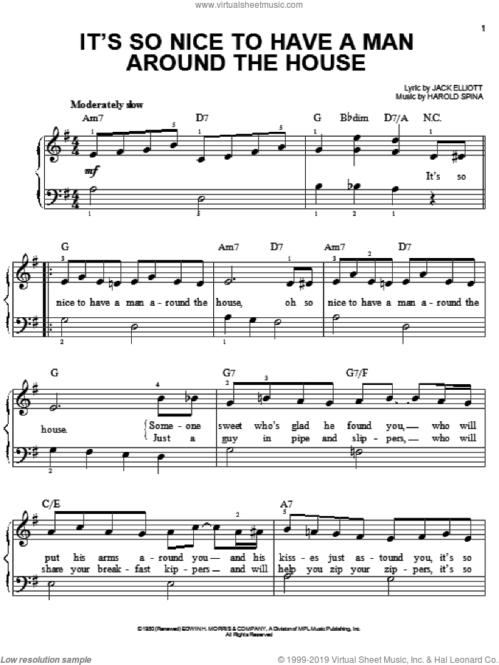 It's So Nice To Have A Man Around The House sheet music for piano solo by Harold Spina and Jack Elliott, easy skill level