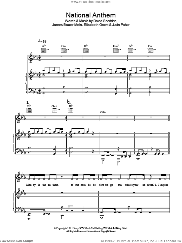 National Anthem sheet music for voice, piano or guitar by Lana Del Rey, David Sneddon, Elizabeth Grant, James Bauer-Mein and Justin Parker, intermediate skill level