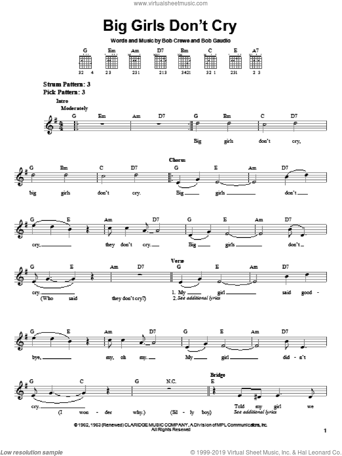 Big Girls Don't Cry sheet music for guitar solo (chords) by Frankie Valli & The Four Seasons, Frankie Valli, The Four Seasons, Bob Crewe and Bob Gaudio, easy guitar (chords)